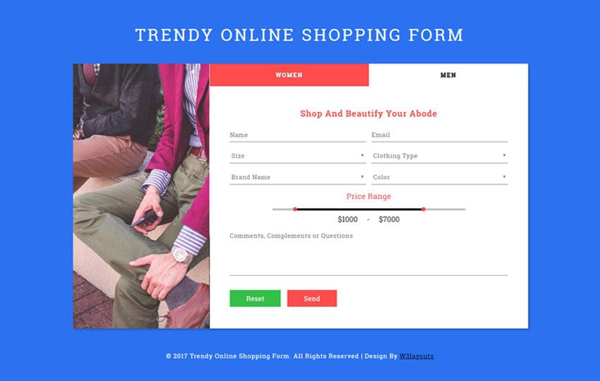 Trendy Online Shopping Form Flat Responsive Widget Template Mobile website template Free