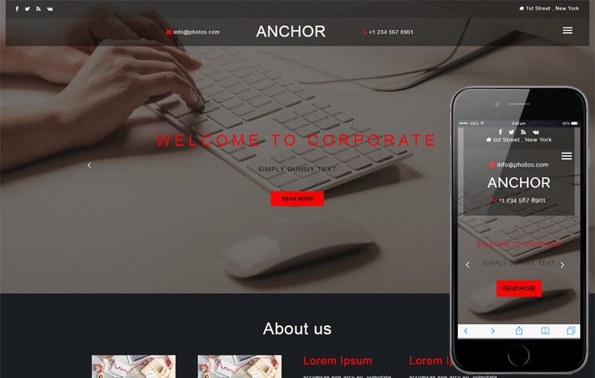 Anchor a Corporate Category Bootstrap Responsive Web Template Mobile website template Free