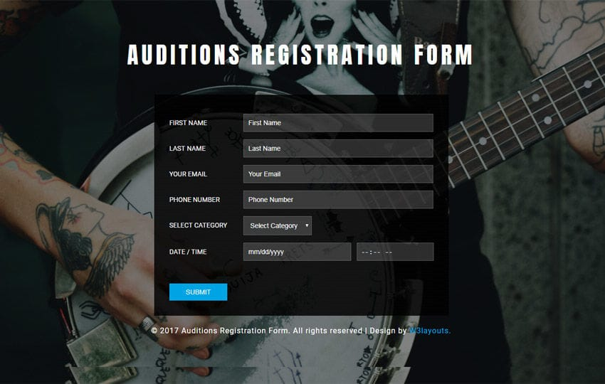 Auditions Registration Form Flat Responsive Widget Template Mobile website template Free