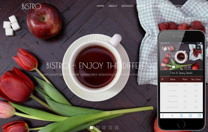 Bistro a Restaurants Category Flat Bootstrap Responsive Web Template Mobile website template Free