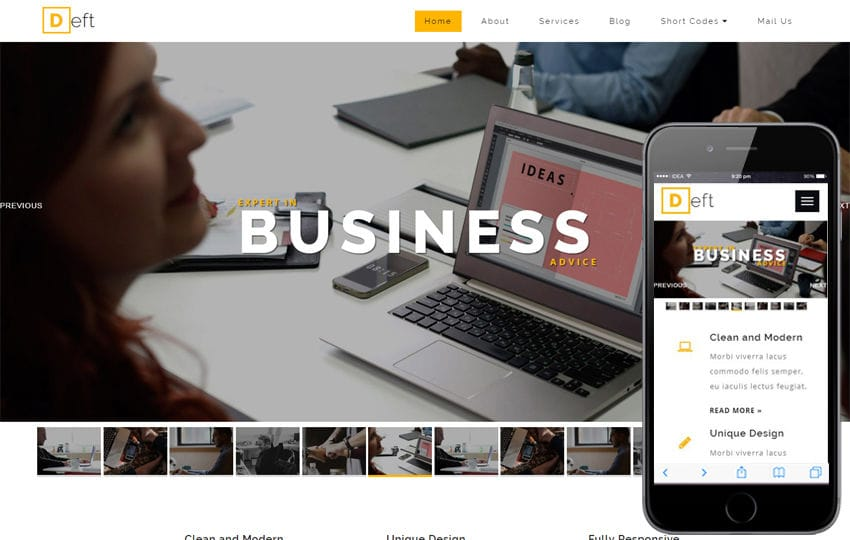 Deft a Corporate Category Bootstrap Responsive Web Template Mobile website template Free