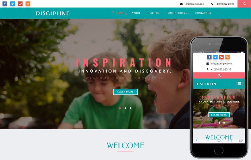 Discipline an Educational Category Bootstrap Responsive Web Template Mobile website template Free