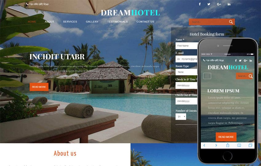 Dream Hotel a Restaurant Category Bootstrap Responsive Web Template Mobile website template Free