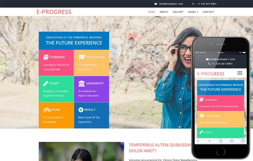 E progress an Education Category Bootstrap Responsive Web Template Mobile website template Free