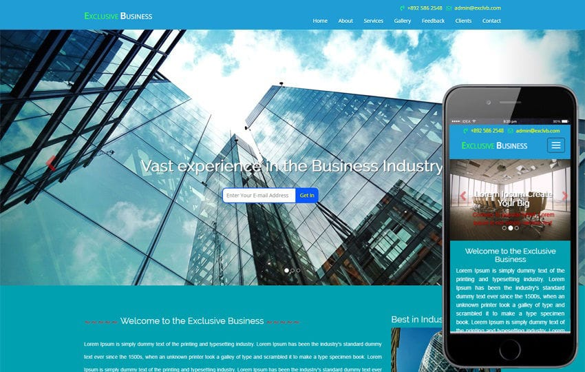 Exclusive Business a Business Category Bootstrap Responsive Web Template Mobile website template Free