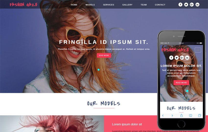 Fashion Gaze a Fashion Category Bootstrap Responsive Web Template Mobile website template Free