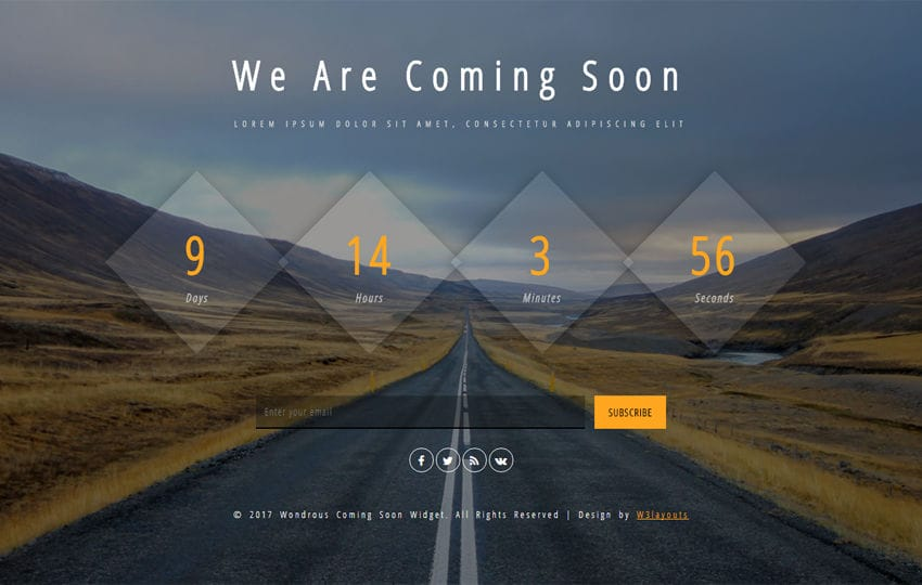 Wondrous Coming Soon a Flat Responsive Widget Template Mobile website template Free