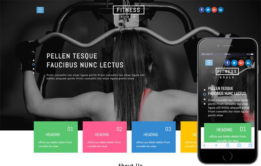 Fitness Goals a Sports Category Bootstrap Responsive Web Template Mobile website template Free
