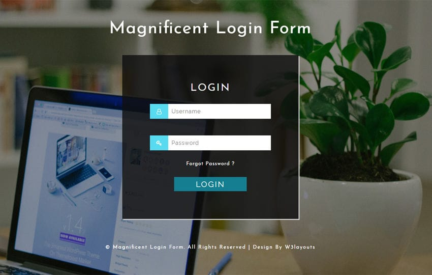 Magnificent Login Form a Responsive Widget Template Mobile website template Free