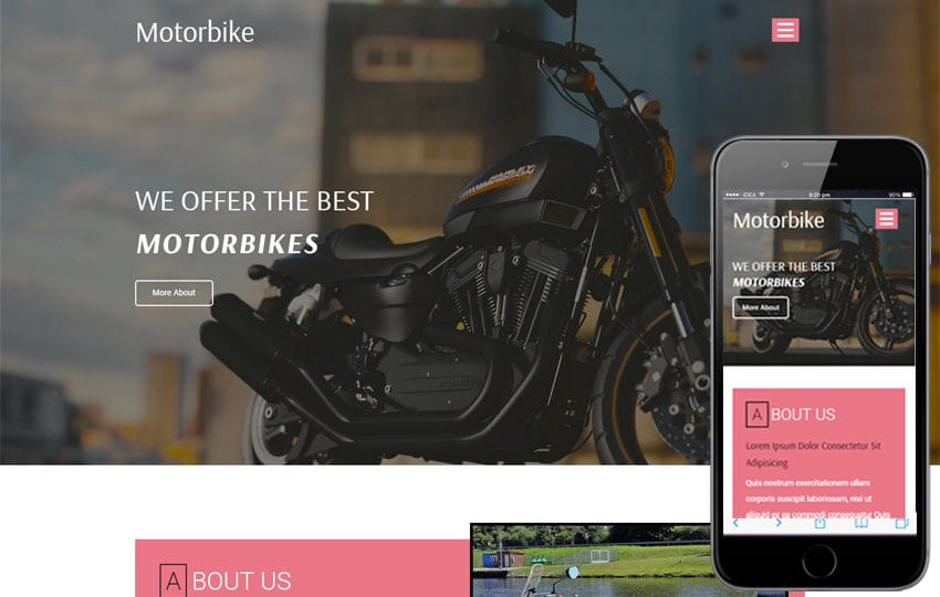 Motorbike a Transportation Category Bootstrap Responsive Web Template Mobile website template Free
