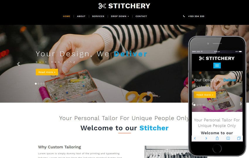 Stitchery a Fashion Category Bootstrap Responsive Web Template Mobile website template Free