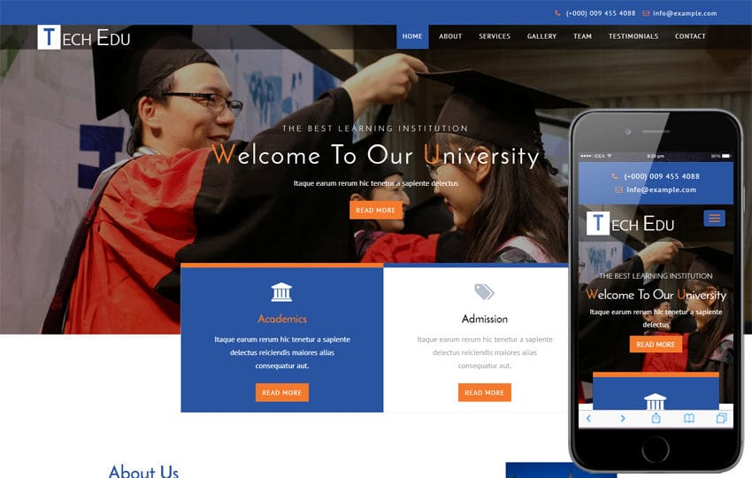 Tech Edu an Education Category Bootstrap Responsive Web Template Mobile website template Free