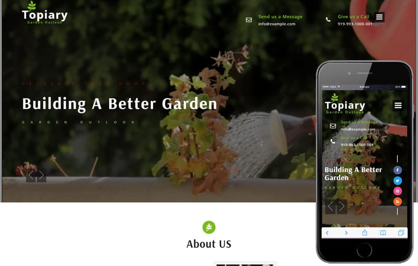 Topiary an Exterior Design Category Bootstrap Responsive Web Template Mobile website template Free