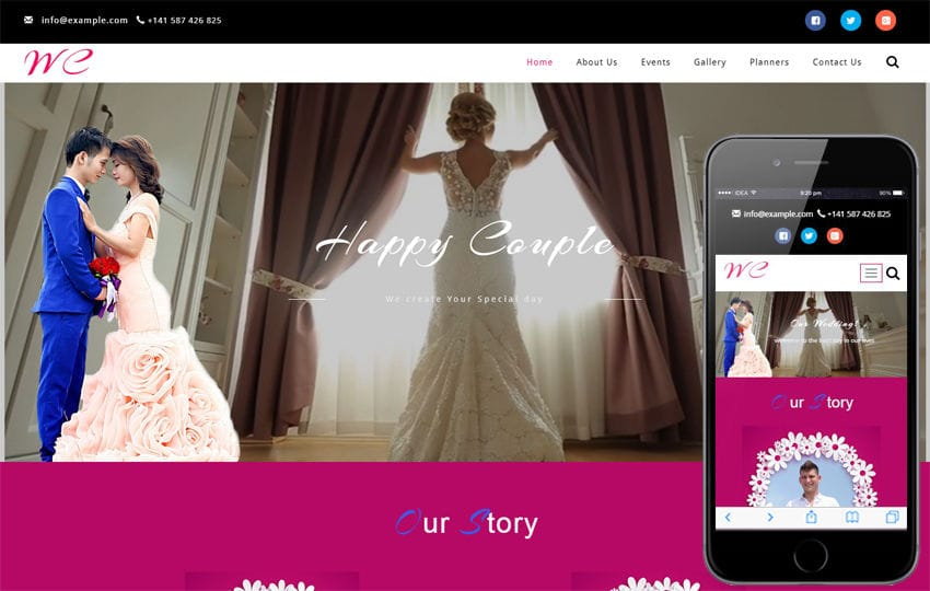 Wedding Ceremony a Wedding Category Bootstrap Responsive Web Template Mobile website template Free