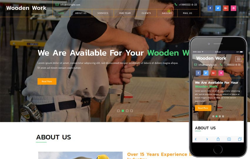 Wooden Work an Industrial Category Bootstrap Responsive Web Template Mobile website template Free