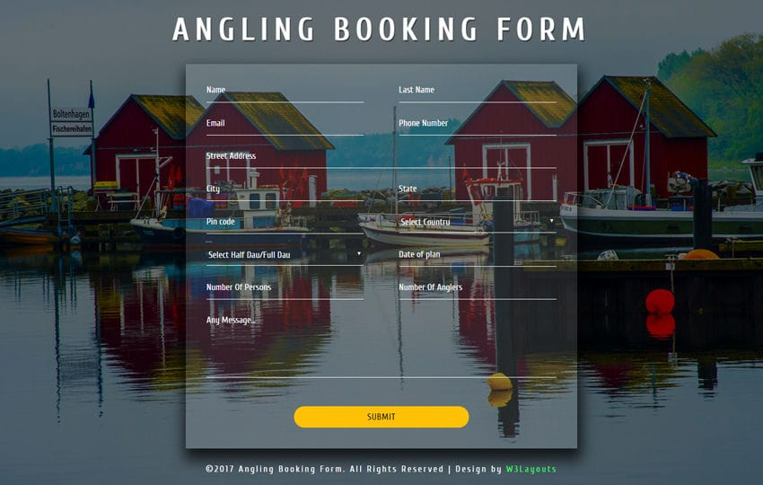 Angling Booking Form a Flat Responsive Widget Template Mobile website template Free