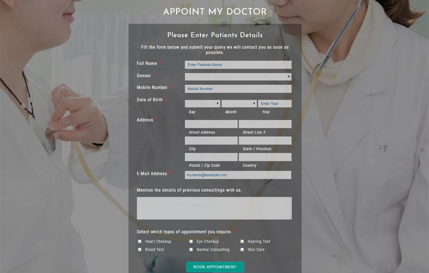 Appoint My Doctor a Flat Responsive Widget Template Mobile website template Free