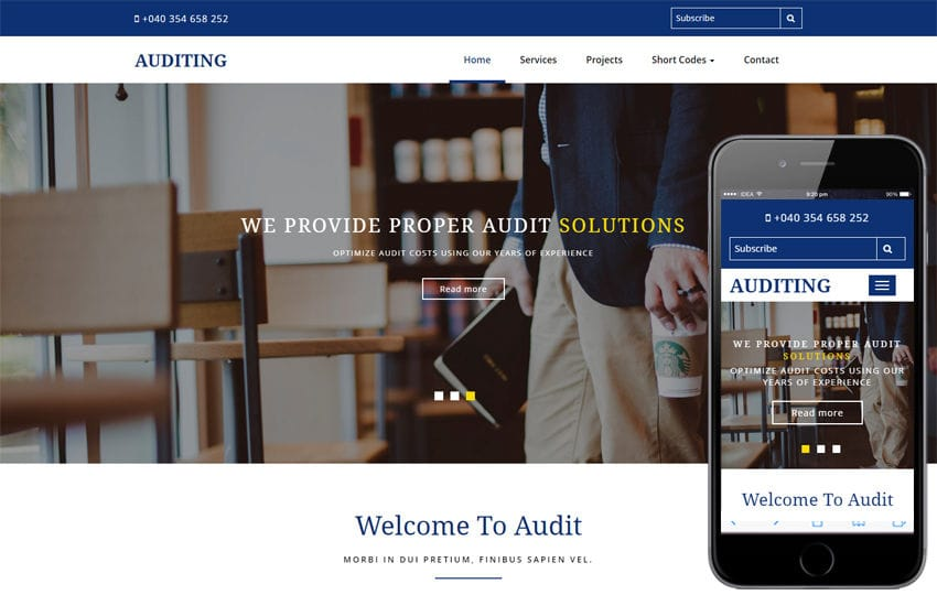 Auditing a Corporate Category Bootstrap Responsive Web Template Mobile website template Free