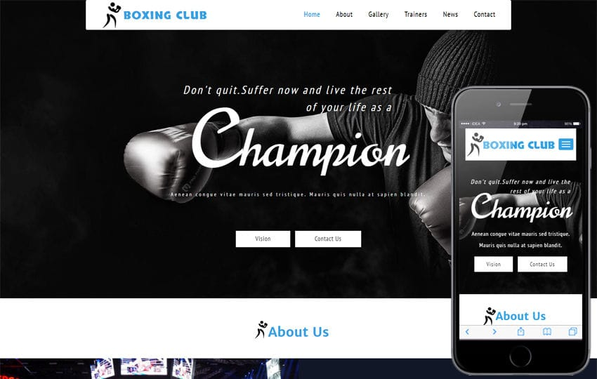Boxing Club a Sports Category Bootstrap Responsive Web Template Mobile website template Free
