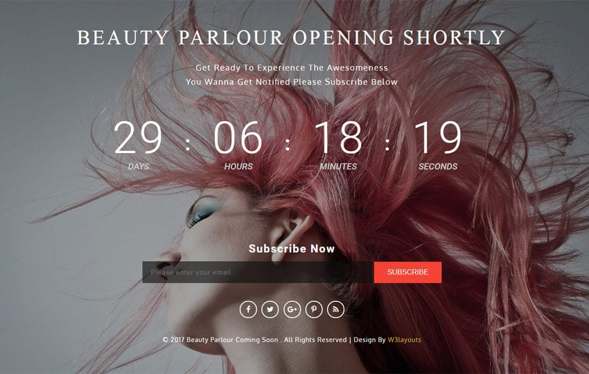 Beauty Parlor Coming Soon a Flat Responsive Widget Template Mobile website template Free