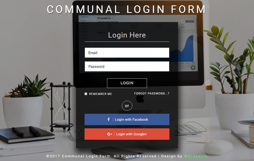Communal Login Form a Flat Responsive Widget Template Mobile website template Free