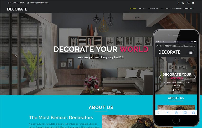 Decorate an Interior Category Bootstrap Responsive Web Template Mobile website template Free