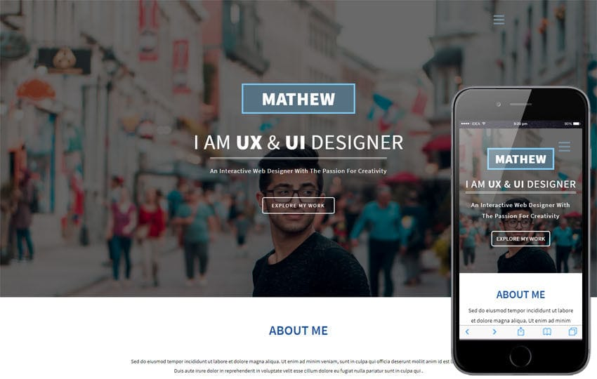 Designer a Personal Category Bootstrap Responsive Web Template Mobile website template Free