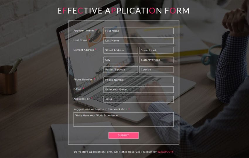 Effective Application Form a Responsive Widget Template Mobile website template Free