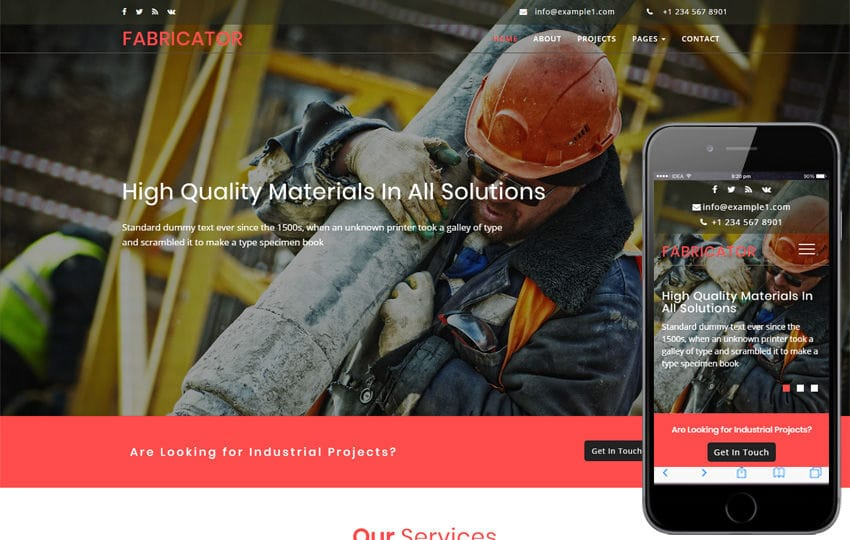 Fabricator an Industrial Category Bootstrap Responsive Web Template Mobile website template Free