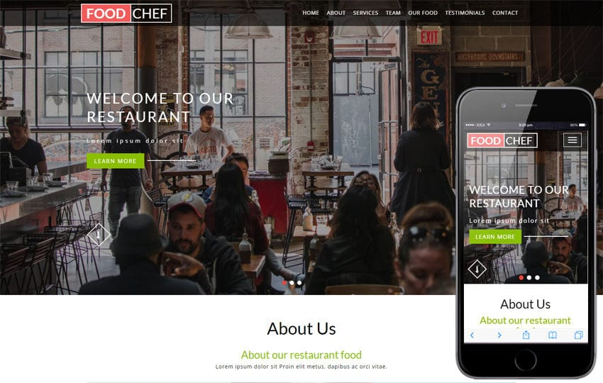 Food Chef a Hotel Category Bootstrap Responsive Web Template Mobile website template Free