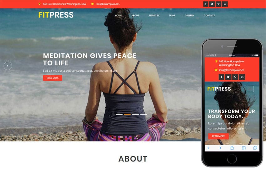 Fitpress a Sports Category Bootstrap Responsive Web Template Mobile website template Free
