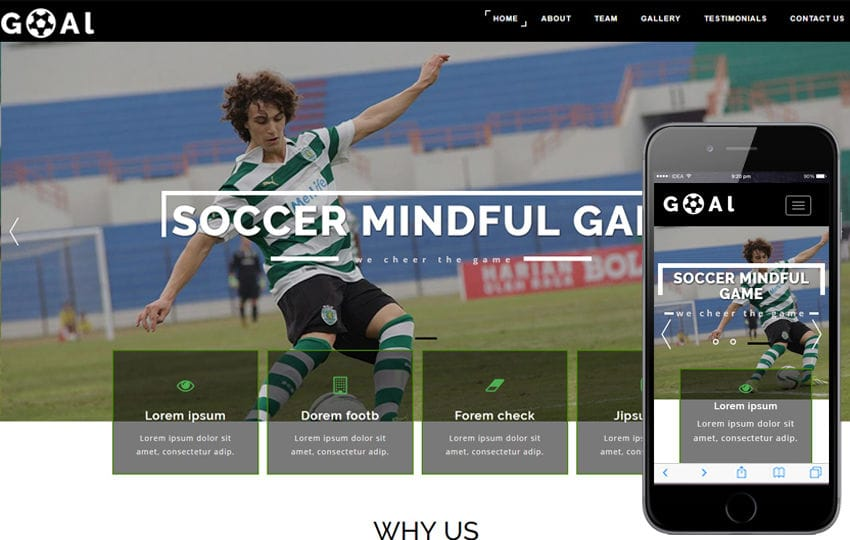 Goal a Sports Category Bootstrap Responsive Web Template Mobile website template Free
