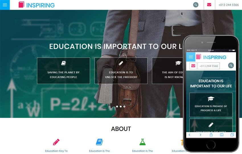Inspiring an Education Category Bootstrap Responsive Web Template Mobile website template Free