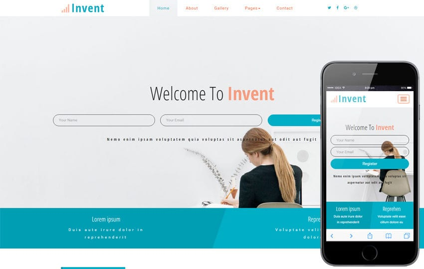 Invent a Corporate Business Category Bootstrap Responsive Web Template Mobile website template Free