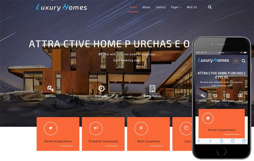 Luxury Homes a Real Estates Category Bootstrap Responsive Web Template Mobile website template Free