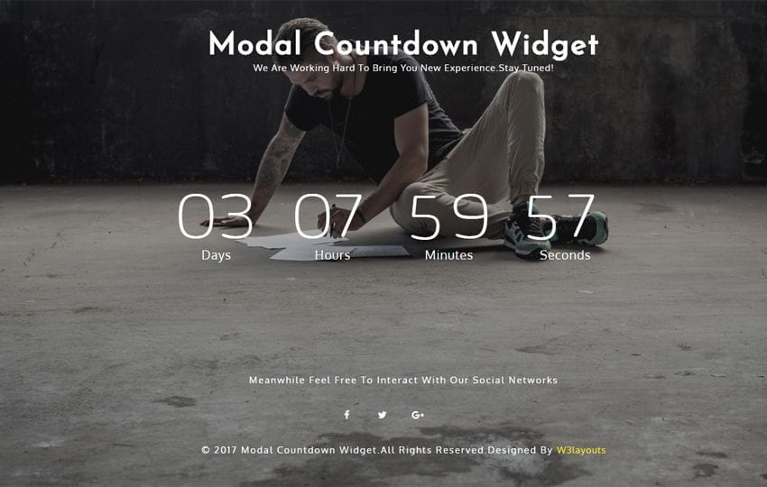 Modal Countdown a Responsive Widget Template Mobile website template Free