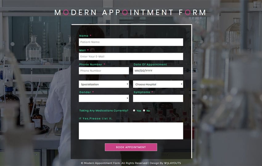 Modern Appointment Form Flat Responsive Widget Template Mobile website template Free