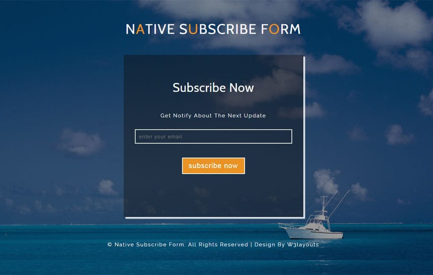Native Subscribe Form a Responsive Widget Template Mobile website template Free