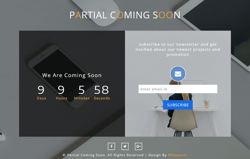 Partial Coming Soon a Responsive Widget Template Mobile website template Free