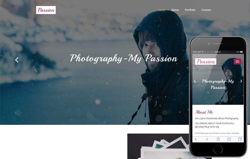 Passion a Personal Category Bootstrap Responsive Web Template Mobile website template Free