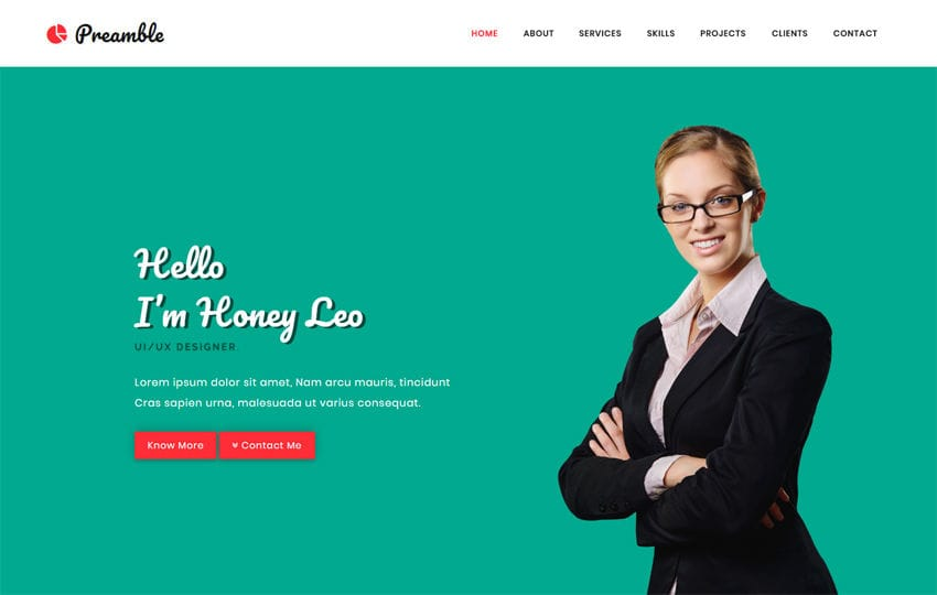 Preamble a Personal Category Bootstrap Responsive Web Template Mobile website template Free