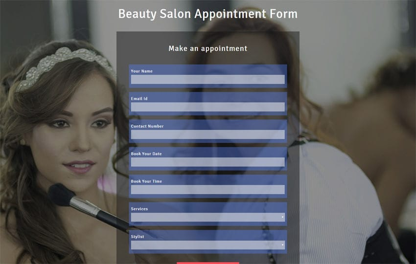 Beauty Salon Appointment Form Responsive Widget Template Mobile website template Free
