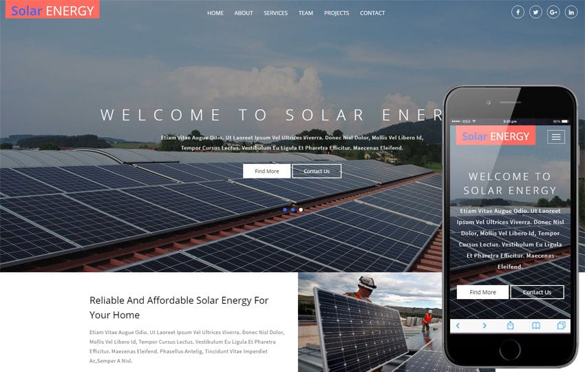 Solar Energy an Industrial Category Bootstrap Responsive Web Template Mobile website template Free