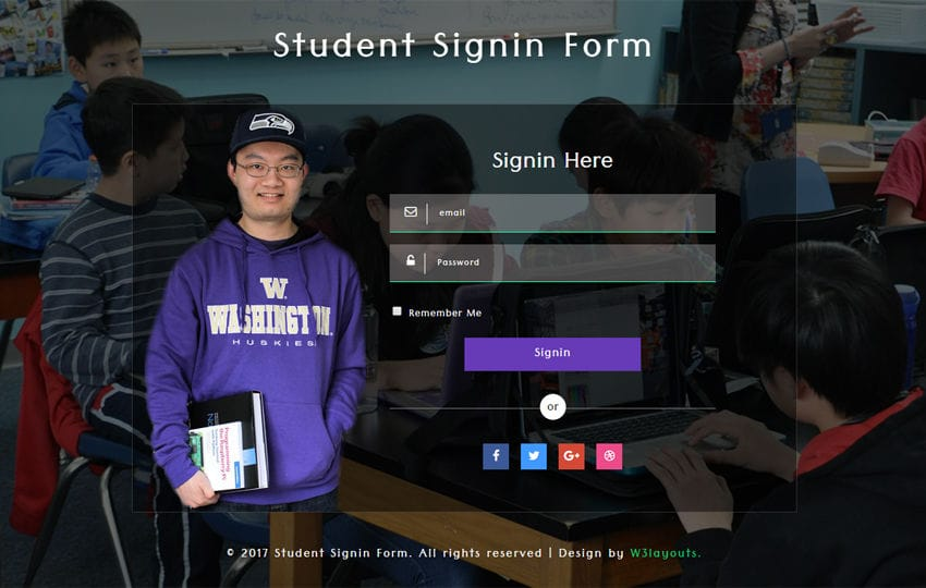 Student Sign in Form Responsive Widget Template Mobile website template Free