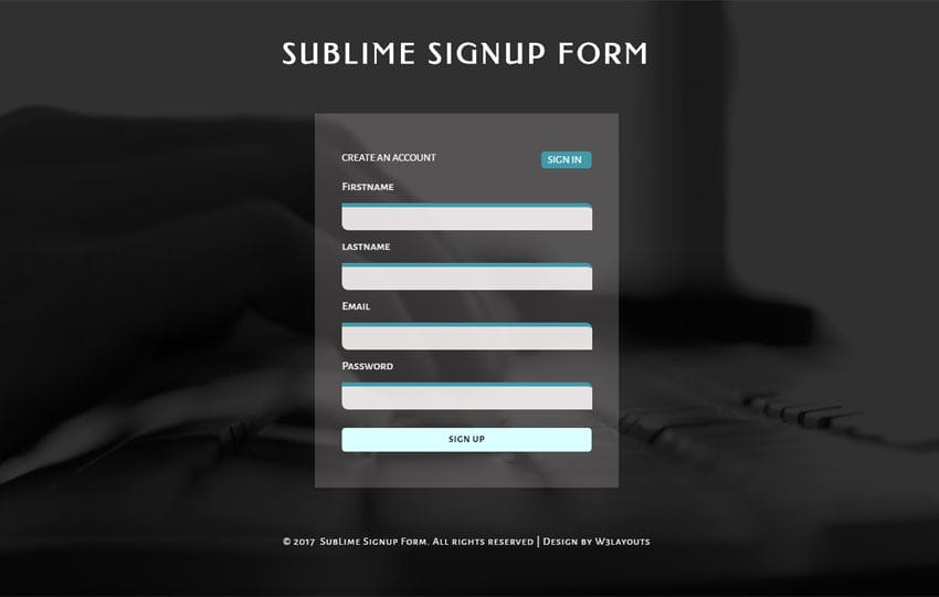 Sublime Signup Form a Flat Responsive Widget Template Mobile website template Free
