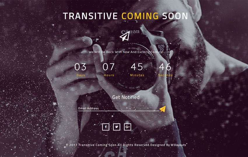 Transitive Coming Soon a Responsive Widget Template Mobile website template Free