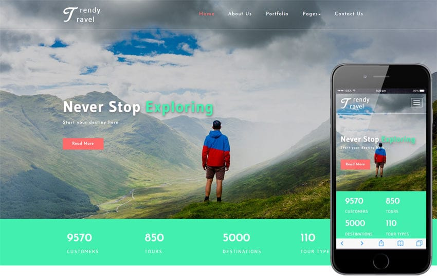 Trendy Travel a Travel Category Bootstrap Responsive Web Template Mobile website template Free
