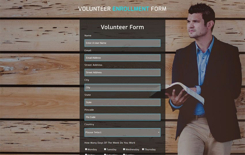 Volunteer Enrollment Form Responsive Widget Template Mobile website template Free
