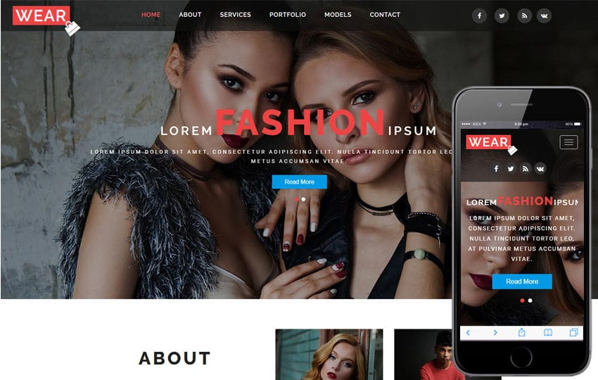 Wear a Fashion Category Bootstrap Responsive Web Template Mobile website template Free
