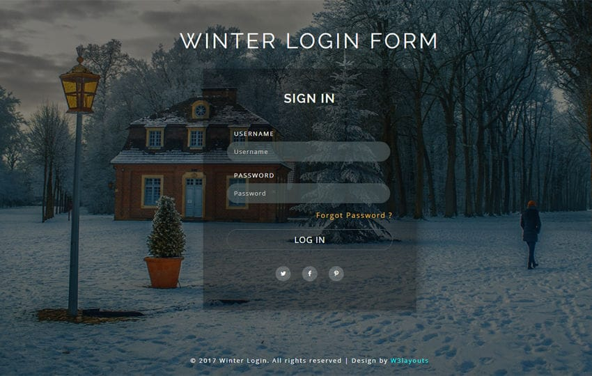 Winter Login Form a Flat Responsive Widget Template Mobile website template Free